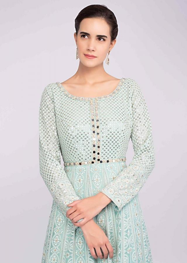 Mint Green Lucknowi Anarkali Suit With Mirror And Sequins Work Online - Kalki Fashion