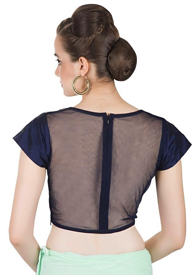 Mint Green Lycra Net Saree with Embellished Navy Blue Cotton Silk Blouse only on Kalki