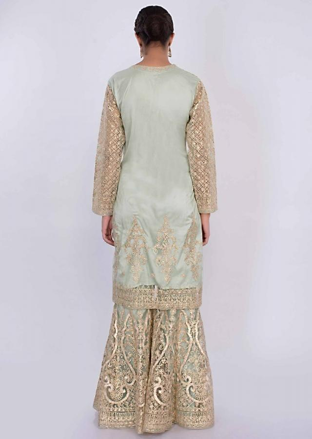 Mint Green Net Sharara Suit In Lace Jaal Embroidery Online - Kalki Fashion
