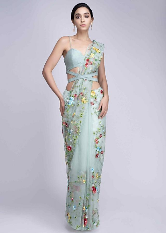 Mint green organza saree in multi color floral jaal embroidery only on Kalki