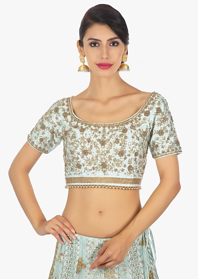 Mint Green Blouse In Raw Silk Paired With Georgette Lehenga In Alternate Kali Along With A Cream Net Dupatta Online - Kalki Fashion