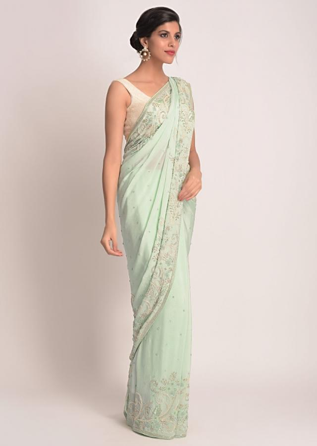 Mint Green Saree In Shimmer Chiffon With 3D Floral Applique Online - Kalki Fashion