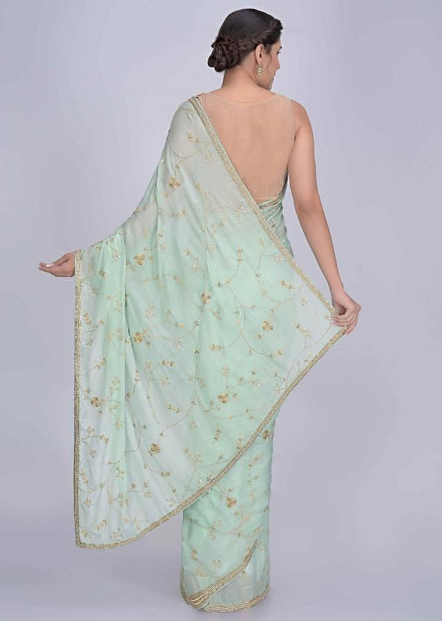 Mint Green Saree In Shimmer Chiffon With Matching Blouse Piece Online - Kalki Fashion