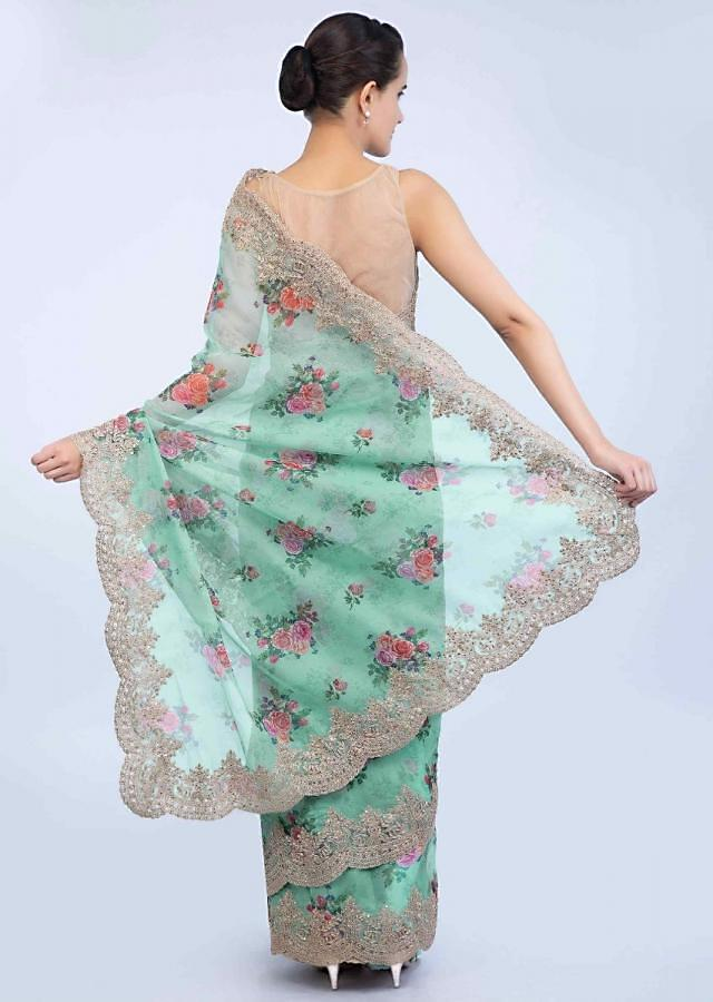 Mint Green Saree In Organza With Scallop Embroidery And Floral Printed Butti Online - Kalki Fashion