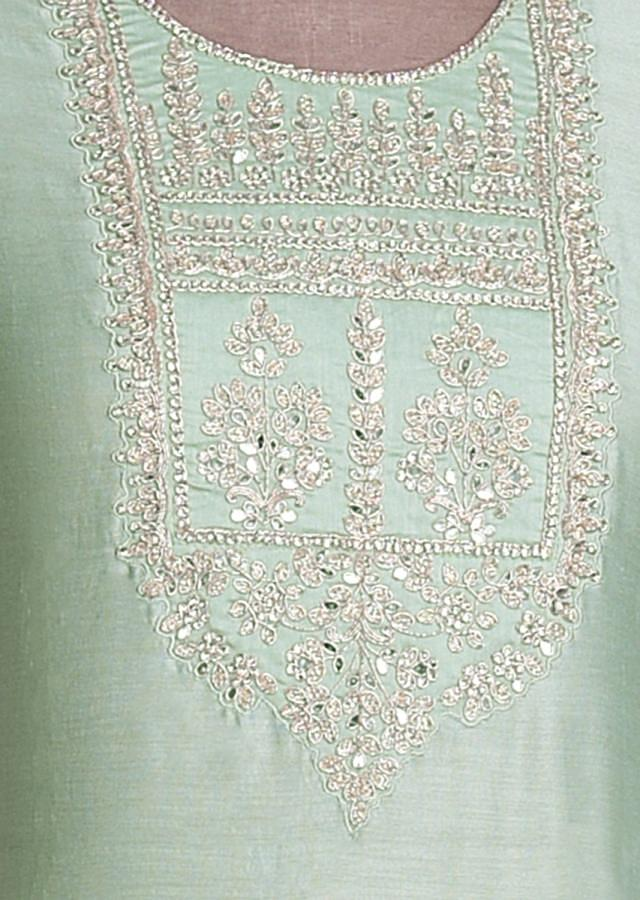 Mint Green Semi stitched Suit With Embroidered Leaf And Floral Motifs On The Neckline Online - Kalki Fashion