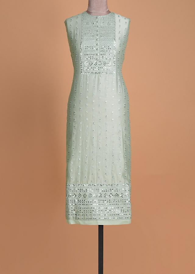 Mint Green Semi stitched Suit With Floral Buttis And Embellished Placket Online - Kalki Fashion