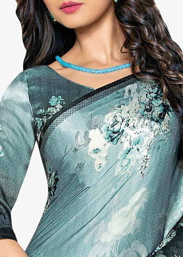 Mint Green Saree In Satin With Shaded Effect And Floral Print Online - Kalki Fashion