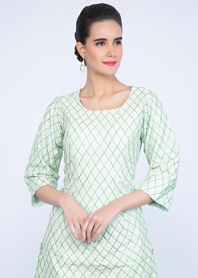 Mint Green Sharara Suit Set In Checks Jaal Embroidery Online - Kalki Fashion