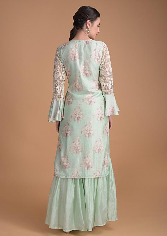 Mint Green Sharara Suit With Floral Print And Sequins And Thread Embroidery Online - Kalki Fashion