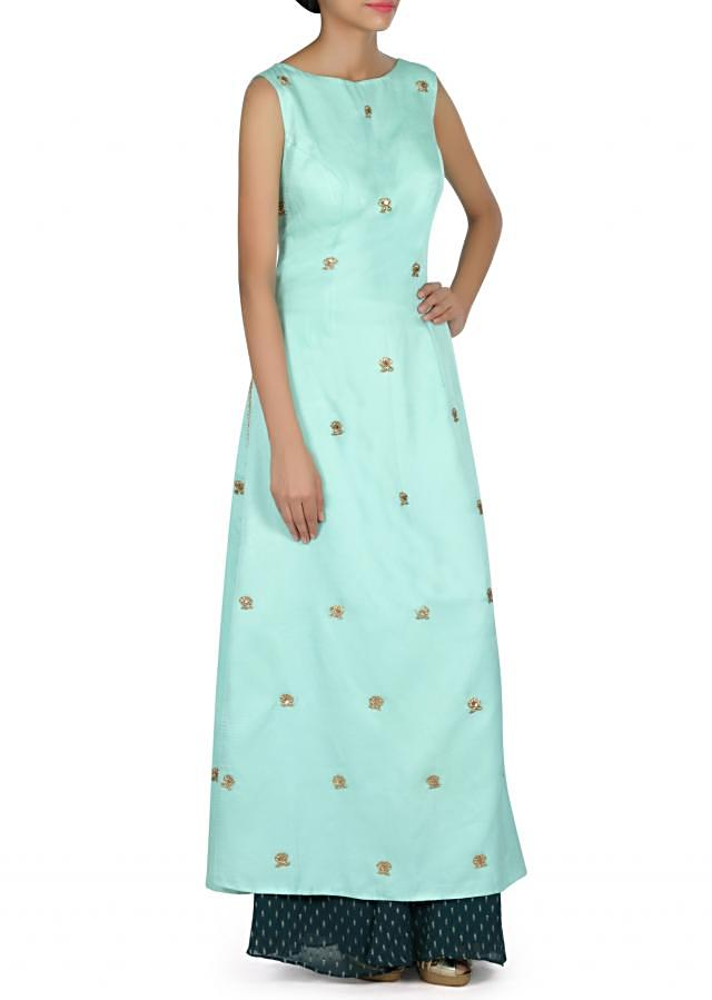 Mint green straight suit adorn in embroidered butti only on Kalki