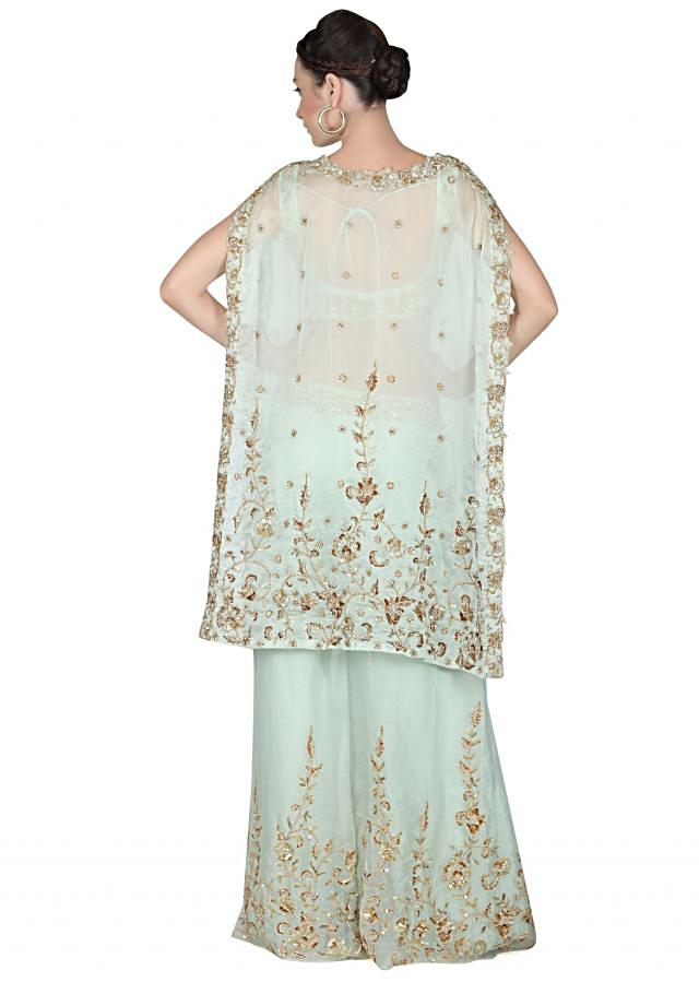 Mint green suit with embroidered crop top and cape only on Kalki