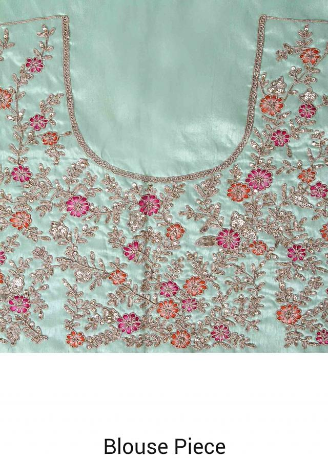 Mint Lehenga Choli With Embroidery Work In Floral Pattern Online - Kalki Fashion