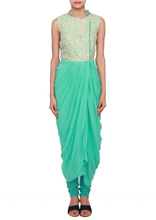 Mint over-lap floral embroidery salwar-kameez with cowl drape only on Kalki
