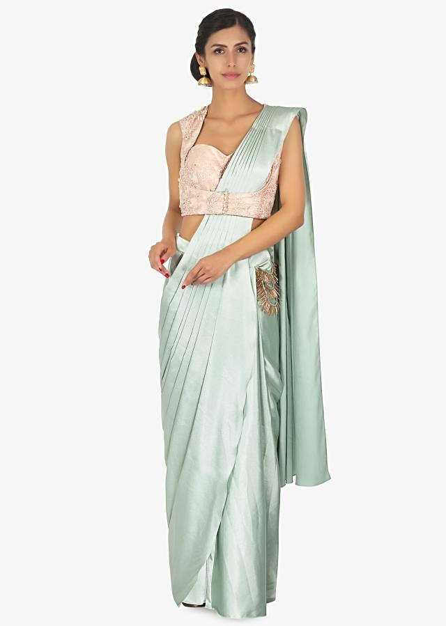 Mint Saree With Pre Stitched Pleats And Pallo With Powder Pink Blouse Online - Kalki Fashion