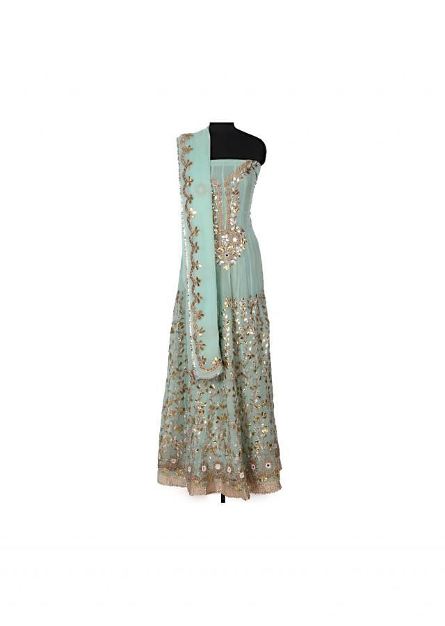 Mint semi stitched anarkali suit in gotta patch only on Kalki