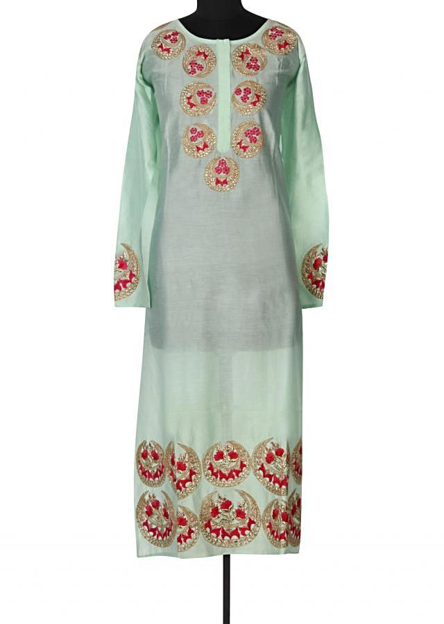 Mint semi stitched suit adorn in zari and resham work only on Kalki
