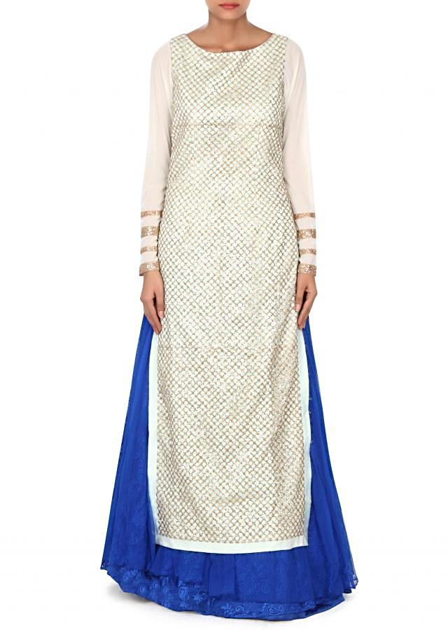 Mint straight suit adorn with royal blue lehenga only on Kalki