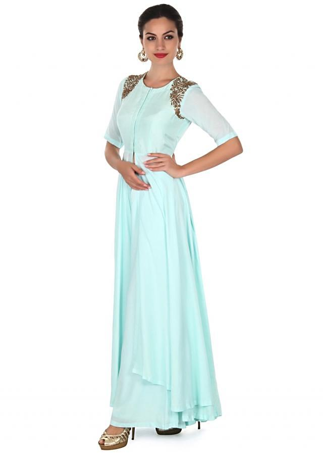 Mint suit with embellished arm hole only on Kalki