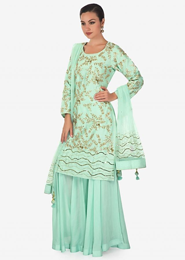 Mint straight palazzo suit adorn in gotta patch and zardosi embroidery only on Kalki