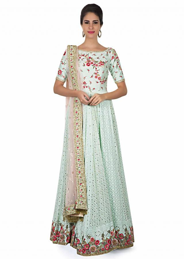 Mint anarkali in lucknowi thread work only on Kalki