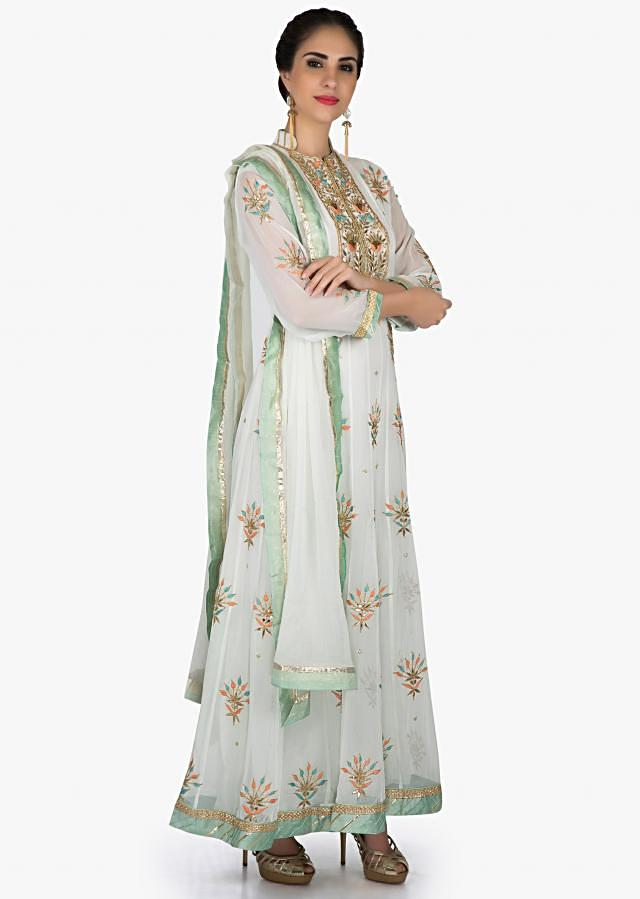 Mint anarkali suit in georgette with placket and kali adorn in gotta patch embroidery only on Kalki