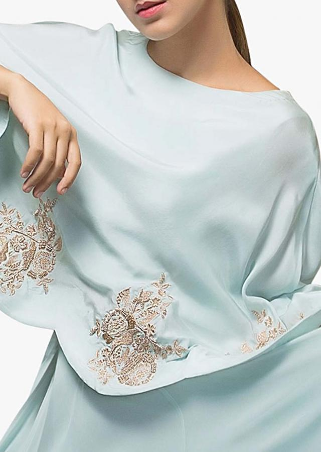 Mint blue anarkali dress in georgette with embroidered cape in floral motif