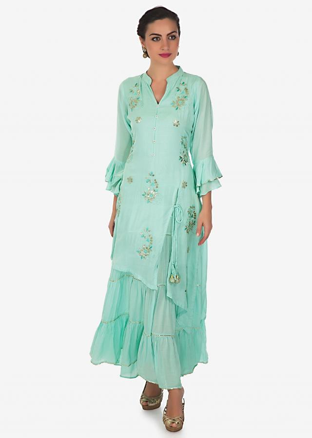 Mint blue attach double layer kurti in resham and gotta patch only on Kalki