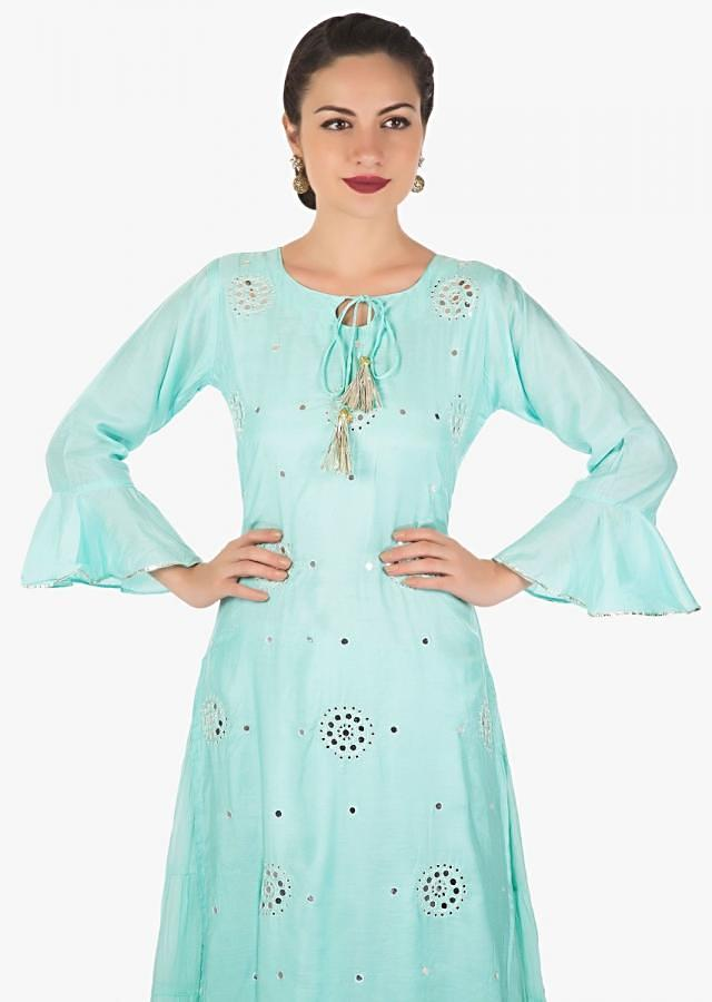 Embroidered Firozi Gown With a Floral work Cape