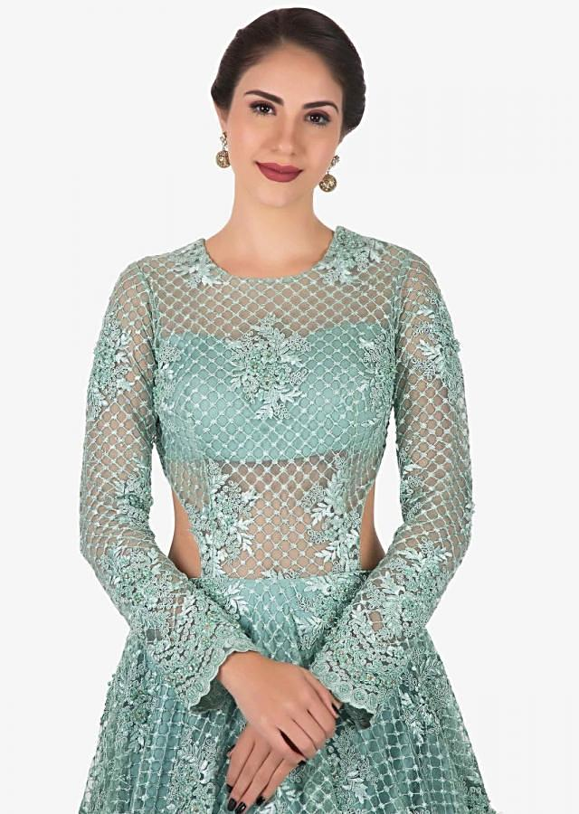 Mint Blue gown in net crafted heavily using the thread and moti embroidered work only on Kalki
