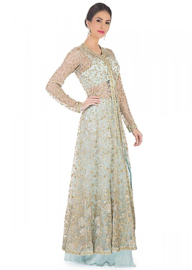Mint Blue Jacket, Crop Top, Palazzo Ensemble Featuring Zari and Sequin Embroidery only on Kalki