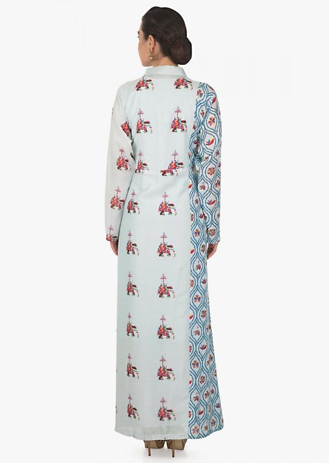 Mint blue kurti in floral jaal and butti print all over only on Kalki