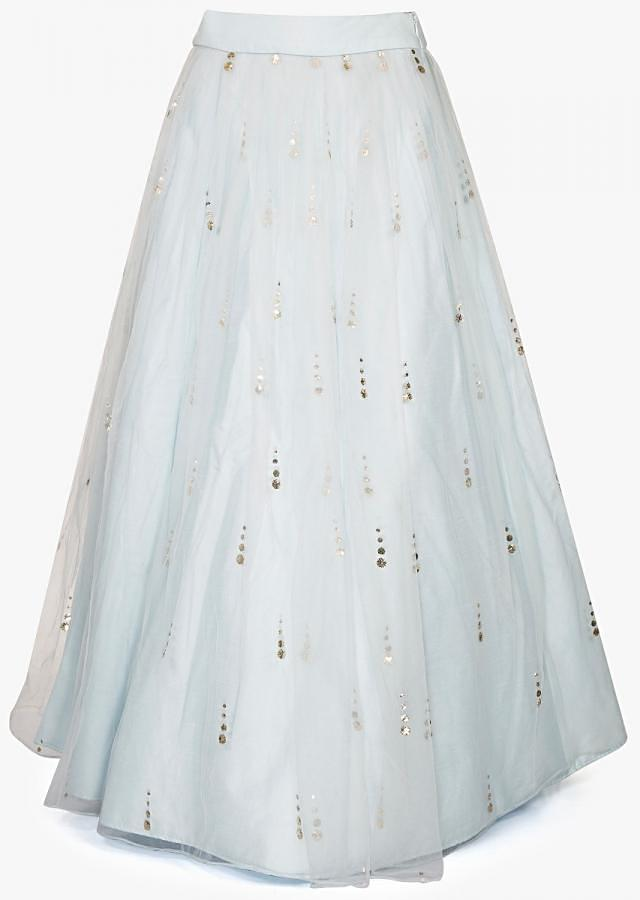Mint Blue Lehenga in net with a ready blouse engraved in kundan and zardosi only on Kalki