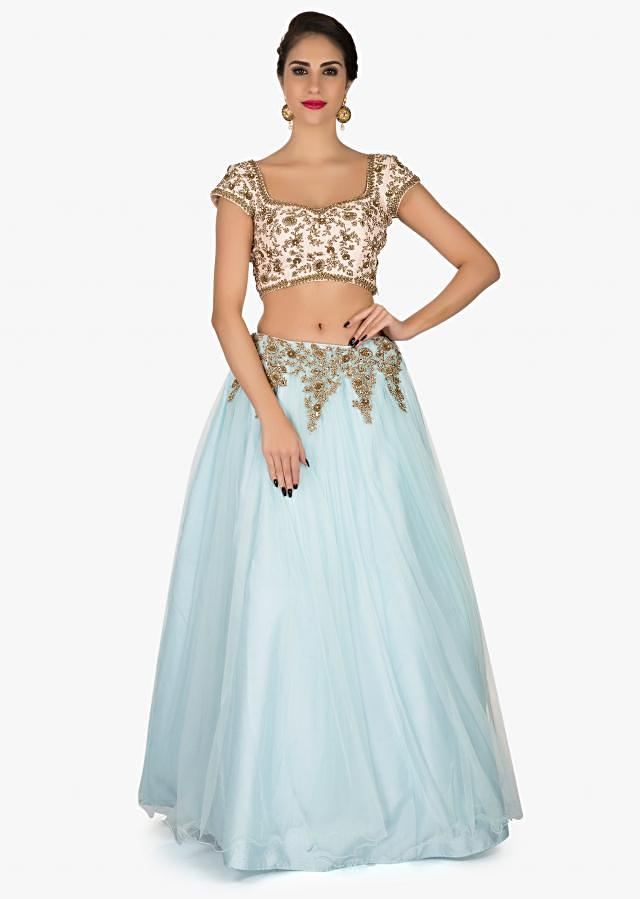 Mint Blue Lehenga in net with a ready blouse featuring the zardosi work only on Kalki