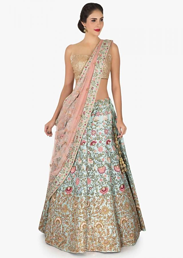 Mint blue lehenga in raw silk beautified in resham and frenchknot embroidered work only on Kalki