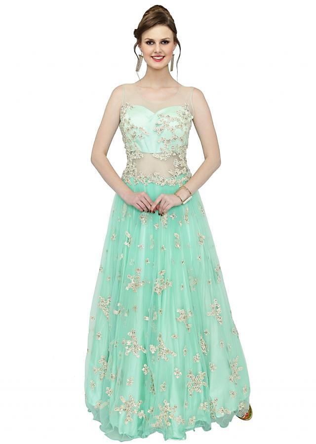 Mint Blue Net Gown Featuring Thread Work and Sequins only on Kalki