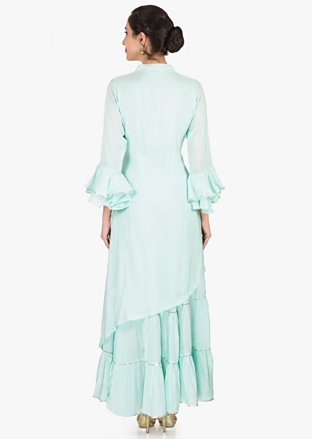 Mint blue one piece in cotton crafted in gottapatti embroidery work only on Kalki