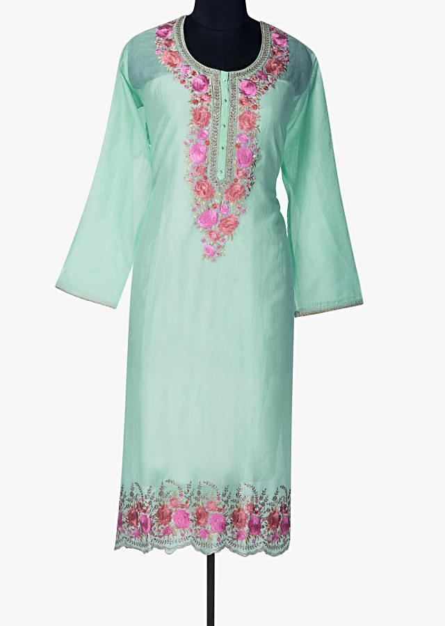 Mint blue semi stitched suit with embroidered neckline and hem only on Kalki