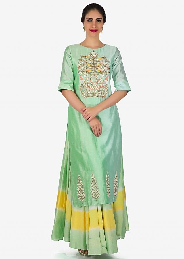 Mint blue straight suit in art silk with moti and zardosi embroidery only on Kalki