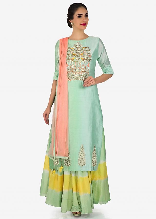 Apple green shaded straight suit in art silk with moti and zardosi embroidery only on Kalki