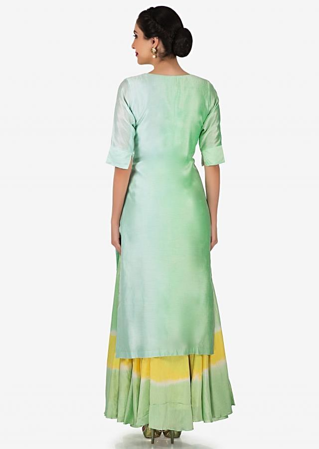 Apple Green Shaded Straight Suit In Art Silk With Moti And Zardosi Embroidery Online - Kalki Fashion