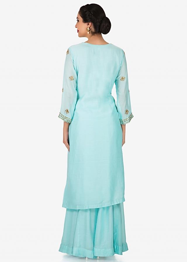 Mint blue straight suit in gotta patti work with palazzo pant only on Kalki