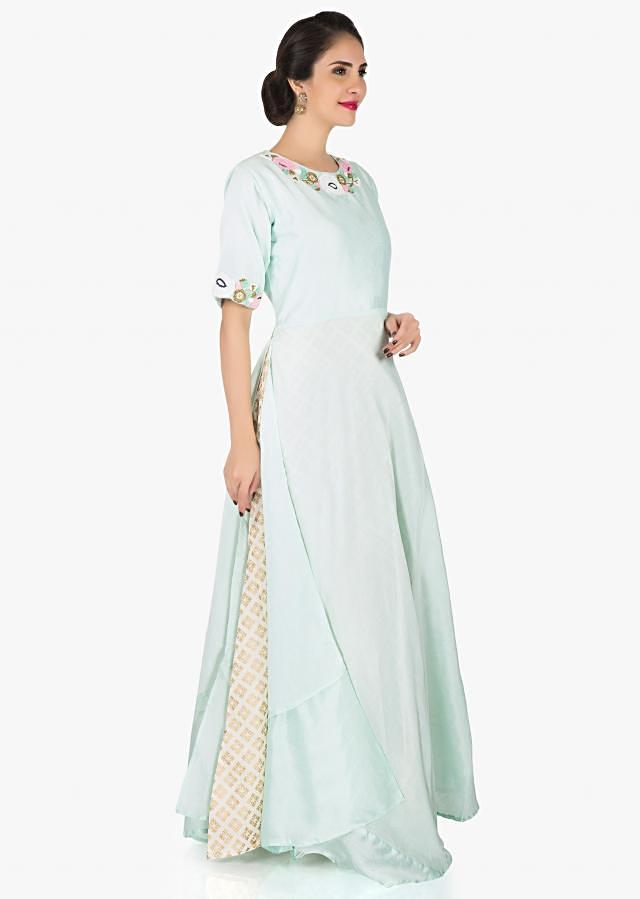 Mint blue top in silk embellished in moti and cut dana work only on Kalki