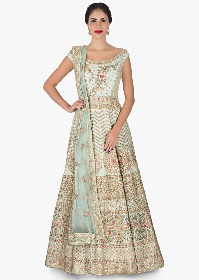 Mint green anarkali suit in silk enhanced in zari and resham embroidery work only on Kalki