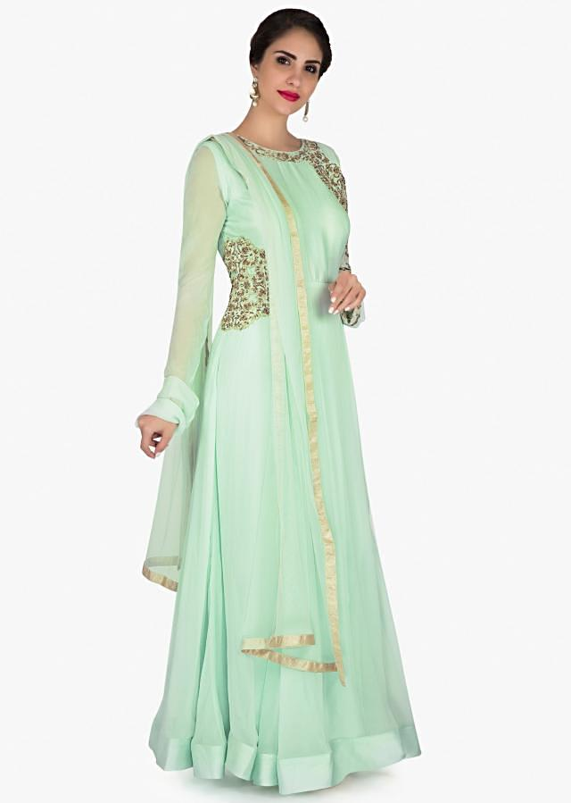 Mint green anarkali suit with zari and cut dana embroidered sleeve only on Kalki