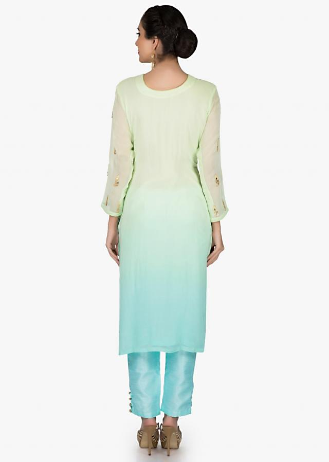 Mint green and sky blue straight suit in georgette with gotta patch embroidery only on Kalki