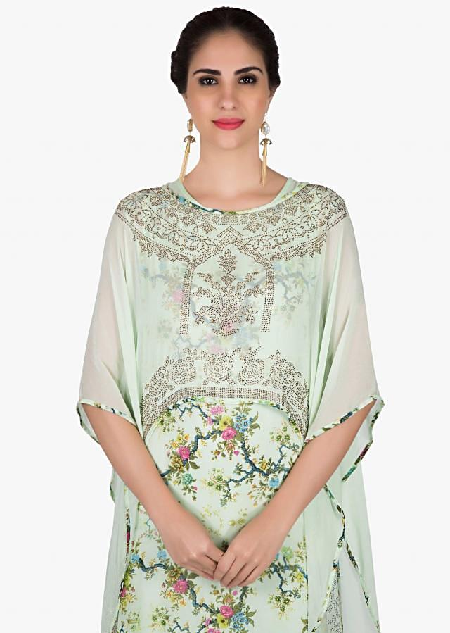 Mint green floral printed kurti with kundan embroidered fancy cape only on Kalki