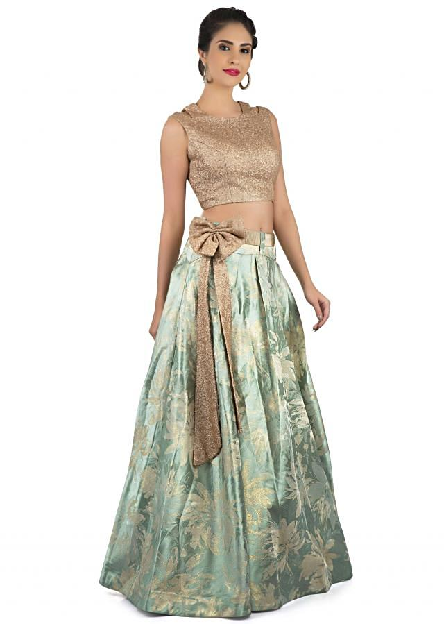 Mint green lehenga in brocade silk with sequin crop top blouse only on Kalki