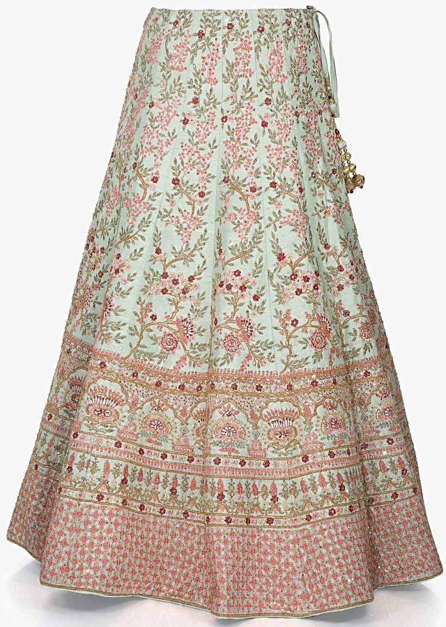 Mint green lehenga in raw silk adorn in resham and cut dana embroidery only on Kalki