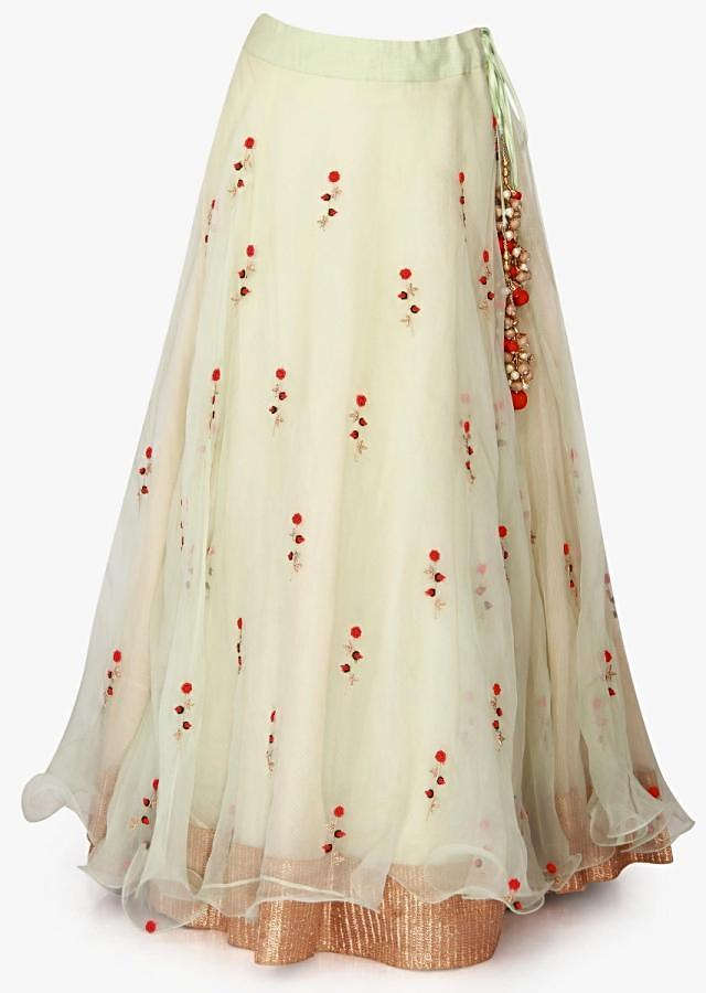 Mint green lehenga in tissue enhanced in frenchknot and zardosi embroidery work only on Kalki