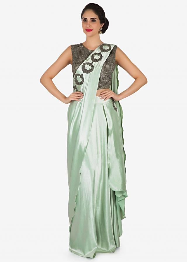 Mint green pre stitched saree in moti embroidery only on Kalki